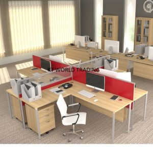 18mm block system - set 1 cluster of 4-office partition workstation office furniture malaysia petaling jaya kuala lumpur shah alam