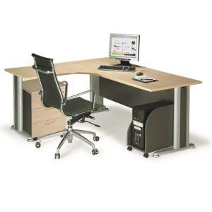 L shape writing table mobile pedestal office table desk selangor puchong