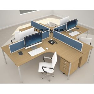 18mm block system - set 2 cluster of 3office partition workstation office furniture malaysia petaling jaya kuala lumpur shah alam