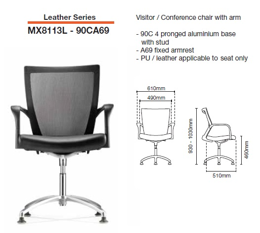 MX8113L-90CA69 VISITOR CONFERENCE CHAIR LEATHER -office furniture malaysia selangor kuala lumpur petaling jaya klang velley