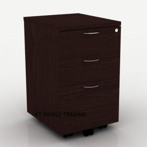 mobile-pedestal-2-drawer-with-1-filing-drawer-full-walnut office furniture malaysia selangor klang valley kuala lumpur shah alam