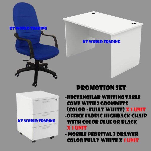 OFFICE FURNITURE sET B - WHITE COLOR office table office chair mobile pedestal 3 drawer malaysia selangor kuala lumpur shah alam petaling jaya