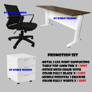 mesh char + table + 3D pedestal - office furniture malaysia selangor kuala lumpur petaling jaya shah alam