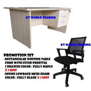 KT-PS4 FURNITURE SET writing table c/w fixed pedestal 3 drawer mesh lowback chair malaysia selangor petaling jaya shah alam kuala lumpur