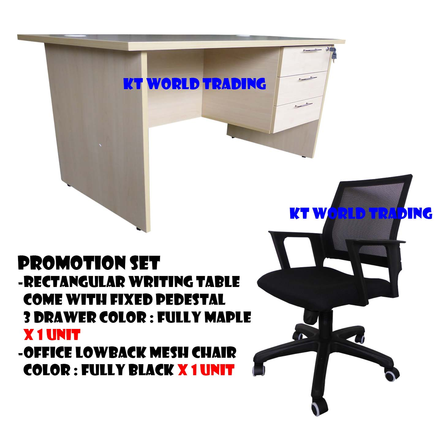 KT PS4 FURNITURE SET Writing Table C W Fixed Pedestal 3 Drawer Mesh Lowback