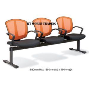 KT2567-3 THREE SEATER MESH LINK CHAIR office netting chair office furniture malaysia selangor kuala lumpur shah alam petaling jaya kota kemuning