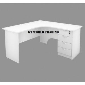 L SHAPE WRITING TABLE WITH FIXED PEDESTAL 4 DRAWER office furniture malaysia selangor kuala lumpur shah alam petaling jaya