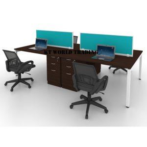 MU4CA-F4 FABRIC PANEL WALNUT OFFICE PARTITION WORKSTATION office furniture malaysia selangor kuala lumpur shah alam petaling jaya subang jaya