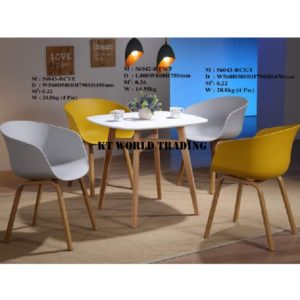 DESIGNER CHAIR KT56043-RCWT-GY-YE & RESTAURANT TABLE KT56042-RTWT OFFICE FURNITURE MALAYSIA SELANGOR SUBANG JAYA PUCHONG SHAH ALAM