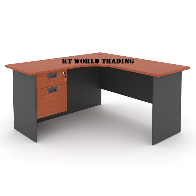 L shape office table with fixed pedestal 2 drawer office furniture kuala lumpur shah alam klang valley