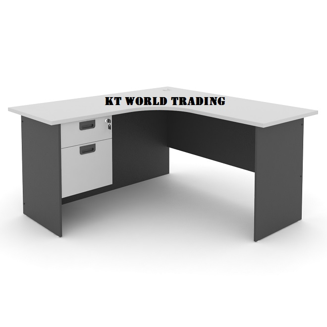 L Shape Office Table With Fixed Pedestal 2 Drawer Furniture Malaysia Kuala Lumpur Shah Alam