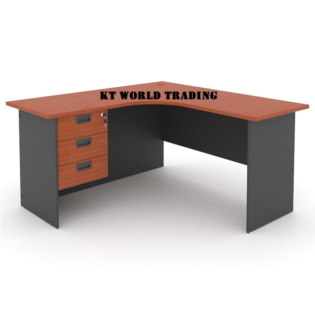 L shape office table with fixed pedestal 3 drawer office furniture kuala lumpur shah alam klang valley